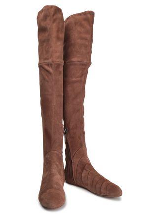 e7c22feaaee15a ALAÏA Pleated suede over-the-knee boots.   1