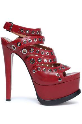 ALAÏA Eyelet-embellished leather platform sandals