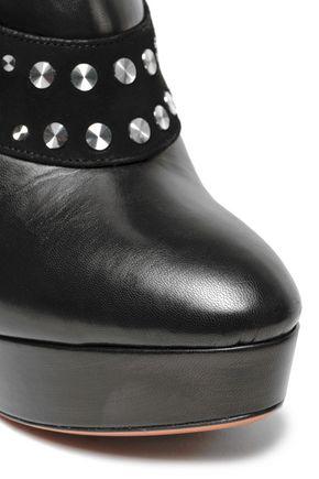 ALAÏA Studded suede-paneled leather platform ankle boots