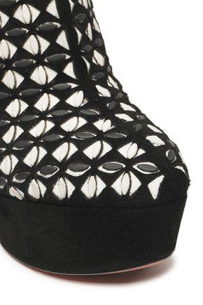 ALAÏA Embellished laser-cut suede platform ankle boots