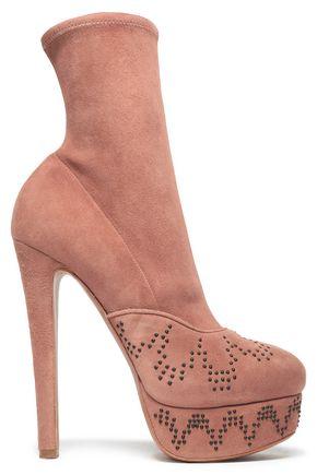 ALAÏA Studded suede platform ankle boots