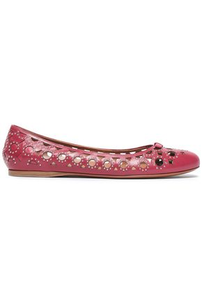 ALAÏA Studded laser-cut leather ballet flats