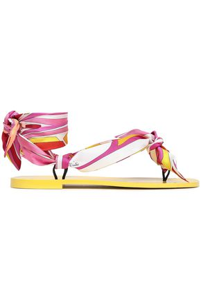 EMILIO PUCCI Lace-up printed twill flip flops