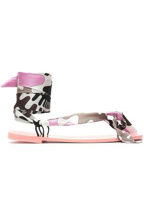 EMILIO PUCCI Lace-up printed silk-twill flip flops