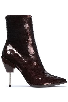 EMILIO PUCCI Sequined suede ankle boots