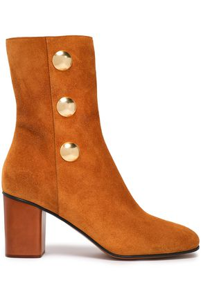 CHLOÉ Button-embellished suede ankle boots