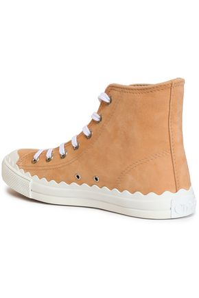 CHLOÉ Kyle scalloped suede high-top sneakers