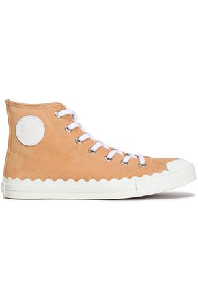 CHLOÉ Scalloped suede high-top sneakers