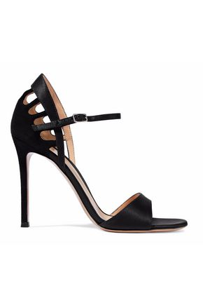 GIANVITO ROSSI Cutout satin-trimmed suede sandals