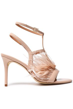 HALSTON HERITAGE Tasha feather-trimmed patent-leather sandals