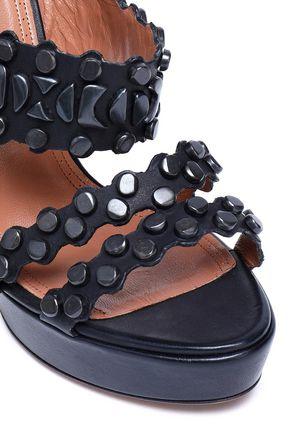 ALAÏA Embellished leather platform sandals