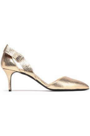 OSCAR DE LA RENTA Bow-embellished metallic cracked-leather pumps