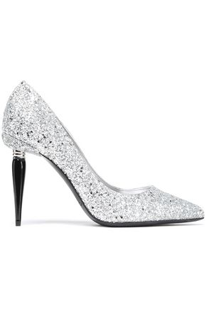OSCAR DE LA RENTA Glittered leather pumps