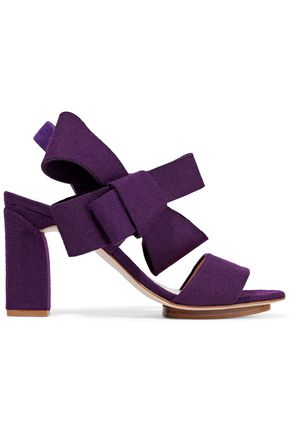 DELPOZO Bow-embellished felt sandals