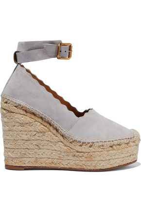 CHLOÉ Lauren scalloped suede wedge espadrilles