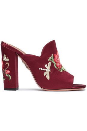 AQUAZZURA Embroidered satin mules