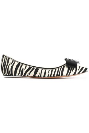 MARC JACOBS Grosgrain bow-embellished zebra-print calf hair point-toe flats