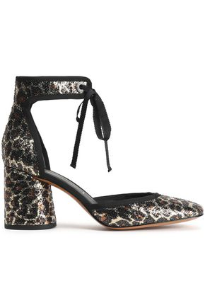 MARC JACOBS Grosgrain-trimmed sequined woven pumps