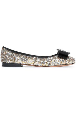 MARC JACOBS Grosgrain bow-embellished sequined leather ballet flats