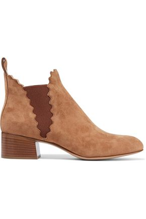 CHLOÉ Lauren scalloped suede ankle boots
