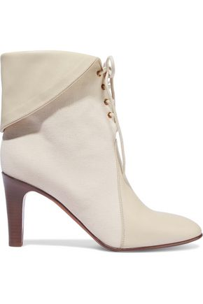 aa52e131a467 CHLOÉ Kole leather-paneled canvas ankle boots