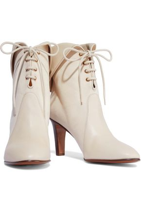 CHLOÉ Kole leather-paneled canvas ankle boots