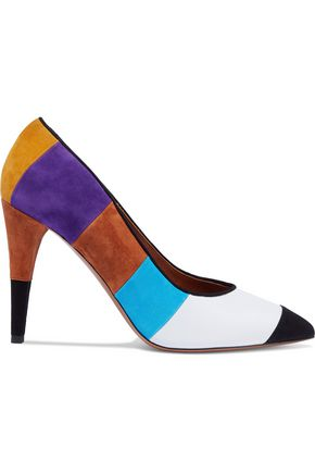 MISSONI Leather-paneled color-block suede pumps