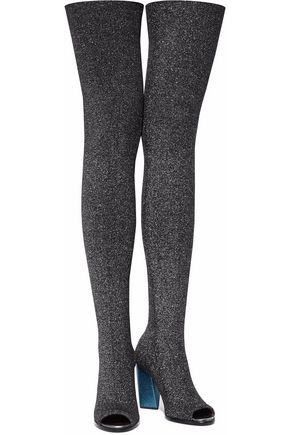 MISSONI Glittered ribbed-knit thigh boots