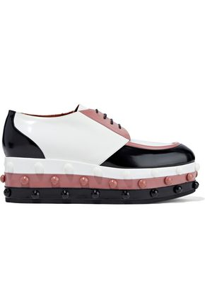 MISSONI Studded color-block glossed-leather platform brogues