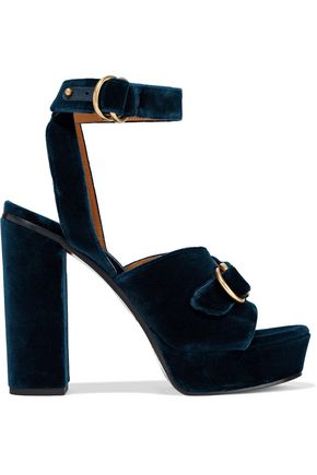 CHLOÉ Buckle-detailed velvet platform sandals
