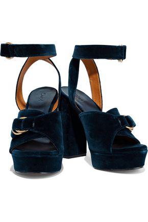 c405d4946d1 ... CHLOÉ Kingsley buckled velvet platform sandals ...