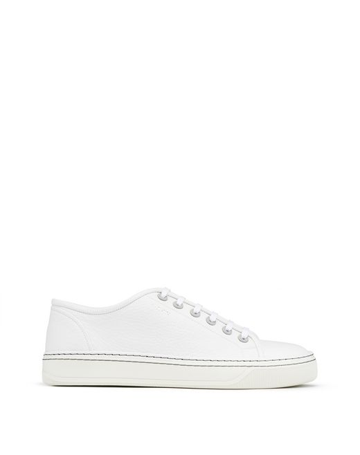 LOW-TOP GRAINED BULL CALFSKIN TRAINER - Lanvin