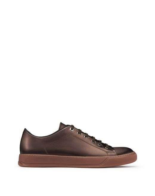 METALLIC BROWN LOW-TOP TRAINER - Lanvin