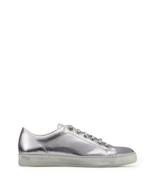 METALLIC SILVER LOW-TOP TRAINER - Lanvin