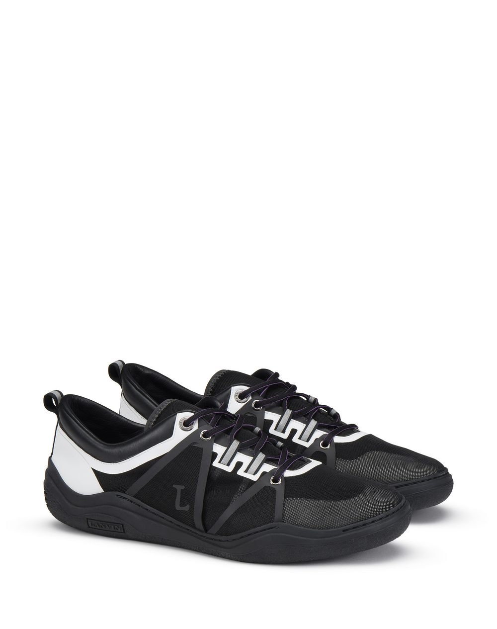 SEMI-TRANSPARENT BLACK AND WHITE DIVING SNEAKER - Lanvin