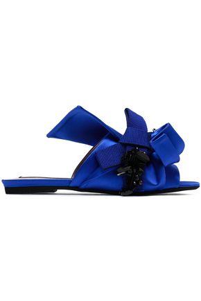 N° 21 Knotted embellished satin slides