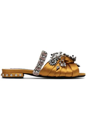 N° 21 Knotted embellished satin slides