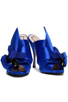 N°21 Knotted embellished satin mules
