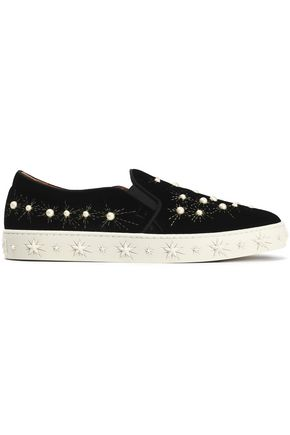 AQUAZZURA Embellished embroidered velvet slip-on sneakers