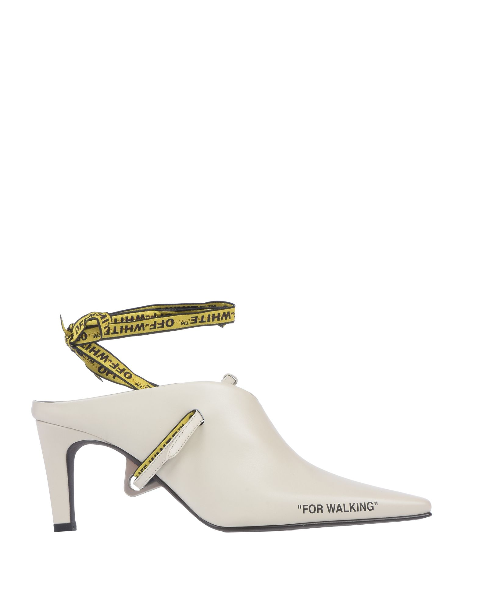 OFF-WHITE™ Pumps. Print Solid color Wrapping straps closure Narrow toeline Cone heel Covered heel Leather lining Leather sole Contains non-textile parts of animal origin Sling-backs Small sized. Soft Leather