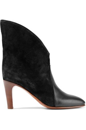 420f66e84 CHLOÉ Leather-paneled suede ankle boots