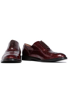 MARC JACOBS Glittered patent-leather brogues