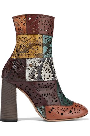 CHLOÉ Laser-cut patchwork snake and leather ankle boots