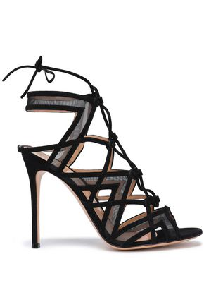 GIANVITO ROSSI Lace-up mesh and suede sandals