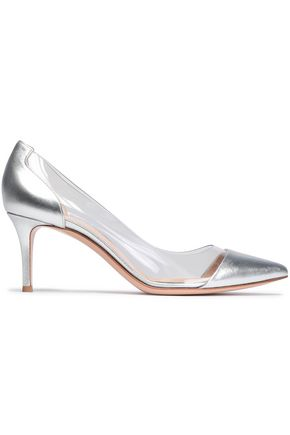 GIANVITO ROSSI Metallic leather and Perspex pumps