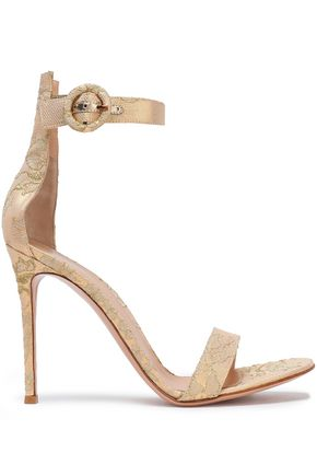 GIANVITO ROSSI Lace and leather sandals