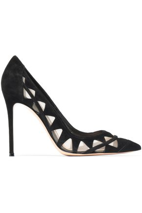 GIANVITO ROSSI Laser-cut mesh and suede pumps