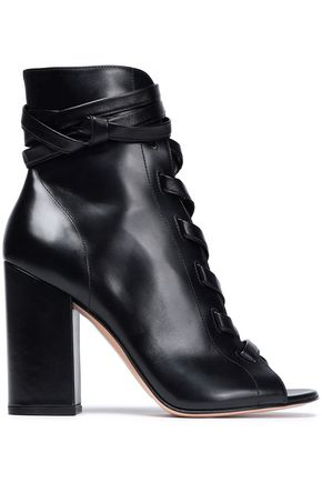 GIANVITO ROSSI Lace-up glossed-leather ankle boots