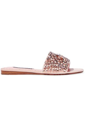 ALICE + OLIVIA Abbey crystal-embellished satin slides