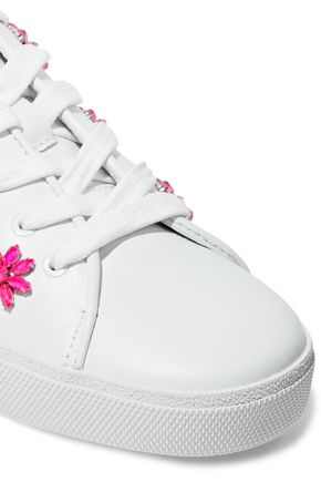ALICE + OLIVIA Crystal-embellished leather sneakers